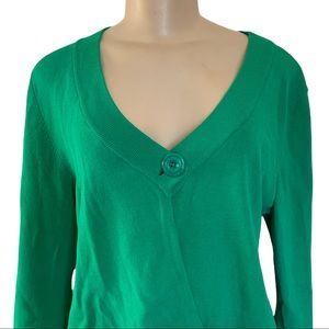 cable & gauge Asymmetrical Kermit Green Cardigan Sweater